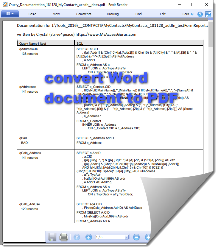 Make PDF using Word